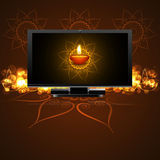 Beautiful happy diwali led tv screen celebration background Royalty Free Stock Images