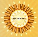 Beautiful happy diwali shiny candle background Stock Photography