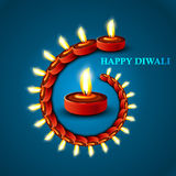 Beautiful Happy diwali stylish diya blue colorful  Stock Images