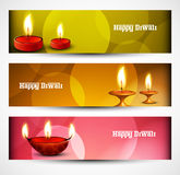 Beautiful Happy diwali three headers set Stock Photography