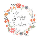 Beautiful happy Easter card with floral wreath Royalty Free Stock Images