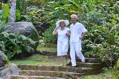 Beautiful happy elderly couple walking outdoors Stock Images
