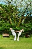 Beautiful happy elderly couple walking outdoors Royalty Free Stock Images