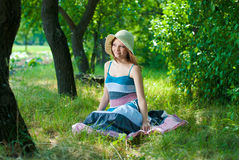 Beautiful happy elegant woman outdoors Stock Photos
