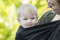 Beautiful Happy Expressive Blond Girl Toddler Waking Up from a Nap. In a Carrier on Mom`s Chest stock photos