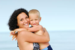 Beautiful, happy face of mother and son Royalty Free Stock Photos