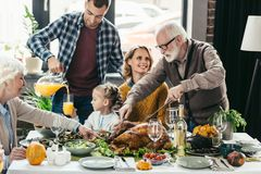 Beautiful happy family celebrating thanksgiving. Day together royalty free stock photos