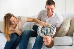 Beautiful happy family having fun at home Stock Photography