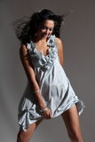 Beautiful happy fashion model posing short dress Royalty Free Stock Photography