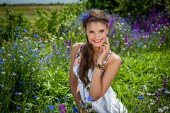 Beautiful  happy female  in the wildflowers Stock Image