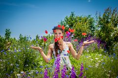 Beautiful  happy female  in the wildflowers Stock Images