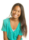 Beautiful Happy Filipino Girl on White Background. A smiling happy Filipino girl is smiling on a white background Stock Photos