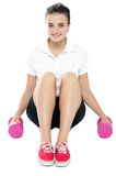 Beautiful happy fitness model Stock Images