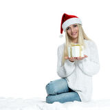 Beautiful Happy Girl with Christmas Gift Stock Images