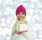 Beautiful Happy Girl with Christmas Gift Royalty Free Stock Photo