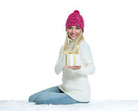 Beautiful Happy Girl with Christmas Gift Royalty Free Stock Photography