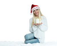 Beautiful Happy Girl with Christmas Gift Stock Photography