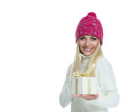 Beautiful Happy Girl with Christmas Gift Stock Image