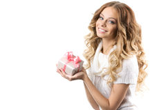 Beautiful Happy Girl with Christmas Gift. Royalty Free Stock Photography