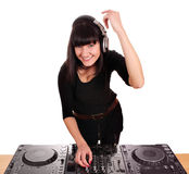 Beautiful happy girl dj Royalty Free Stock Photography