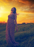 Beautiful happy girl enjoying spring day on the meadow Royalty Free Stock Photo