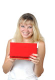 Beautiful happy girl with a gift Royalty Free Stock Image