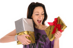 Beautiful happy girl with a gifts Stock Image