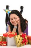 Beautiful happy girl with a gifts Stock Images