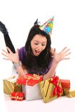 Beautiful happy girl with a gifts Royalty Free Stock Photos