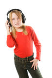 Beautiful happy girl with headphones Royalty Free Stock Image