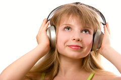 Beautiful happy girl with headphones Royalty Free Stock Photography