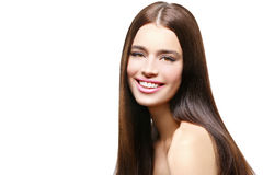 Beautiful happy girl with healthy shiny hair Royalty Free Stock Images