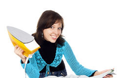 Beautiful Happy Girl Ironing Clothes Royalty Free Stock Photography