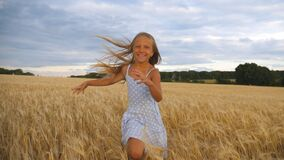 Beautiful happy girl with long blonde hair running to the camera through wheat field. Little smiling kid jogging over