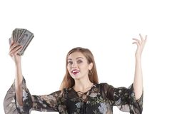 Beautiful happy girl with money isolated financial, holding, pretty royalty free stock image