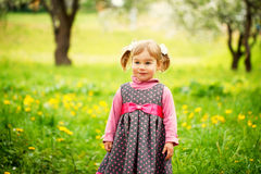 Beautiful  happy girl  playing in a field of Stock Photos