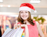 Beautiful Happy Girl With Shopping Bags In Shopping Mall. Royalty Free Stock Image