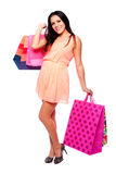 Beautiful happy girl with shopping bags Stock Photo