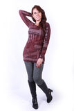 Beautiful Happy Girl Standing Show New Dress Stock Photo