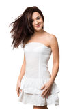 Beautiful happy girl in a white sundress Stock Photo