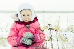 Beautiful happy girl winter outdoors. Royalty Free Stock Photography