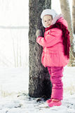 Beautiful happy girl winter outdoors. Stock Photos