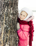 Beautiful happy girl winter outdoors. Royalty Free Stock Images