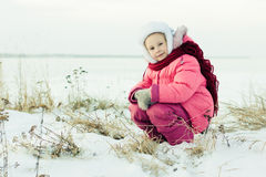 Beautiful happy girl winter outdoors. Stock Photography