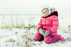 Beautiful happy girl winter outdoors. Royalty Free Stock Image