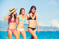 Beautiful Happy Girls on the Beach. Group of Three Beautiful Attractive Young Women Walking on the Beach Stock Photo