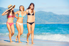 Beautiful Happy Girls on the Beach. Group of Three Beautiful Attractive Young Women Walking on the Beach Stock Image