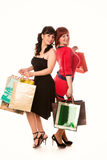 Beautiful happy girls with many shopping bags. Shopping concept. Stock Photo