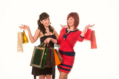 Beautiful happy girls with many shopping bags. Shopping concept. Royalty Free Stock Photos