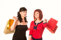 Beautiful happy girls with many shopping bags. Shopping concept. Stock Photography